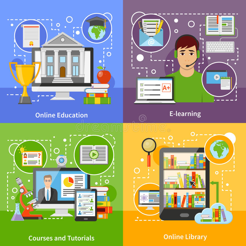 Online Education Concept 4 Flat Icons royalty free illustration