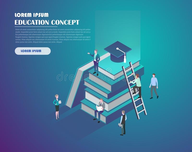 Online education concept. Isometric education graduation concept with books and people. Landing page template. 3d vector illustration stock illustration
