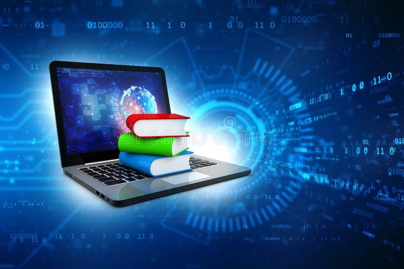 Online education concept - laptop computer with colorful books. 3d rendering vector illustration