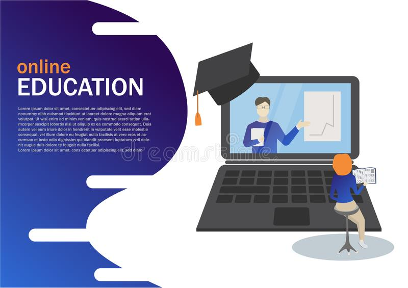 Online Education concept, laptop with teacher and graphic, girl preparing online for landing page design. vector illustration