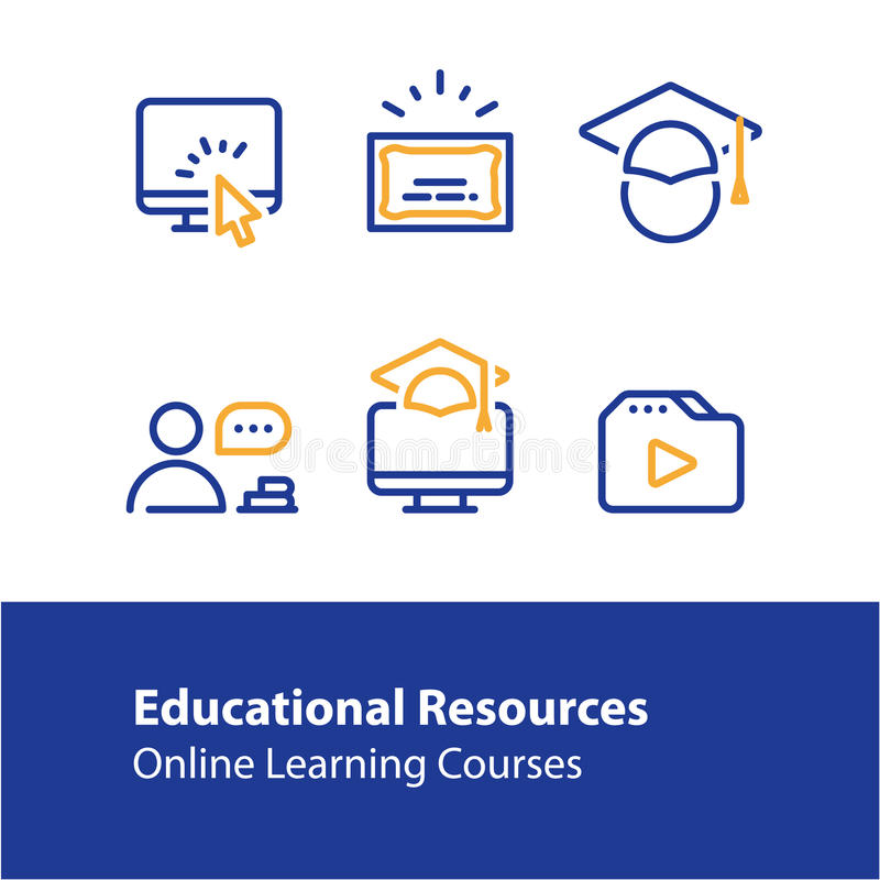 Online education concept line icons, internet learning courses, distant studying vector illustration