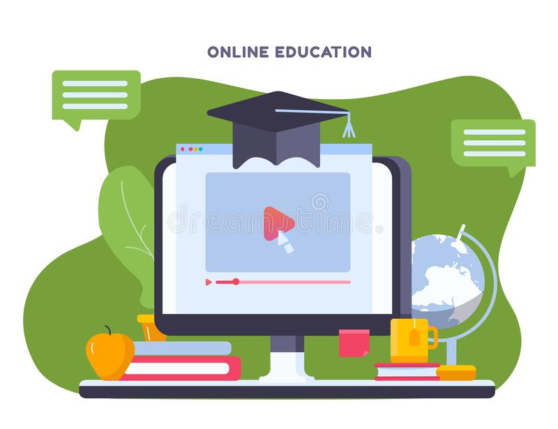 Online education concept with notebook and study objects, hat, pen, book. Modern on site learning training with play. Button and pointer. vector illustration royalty free illustration
