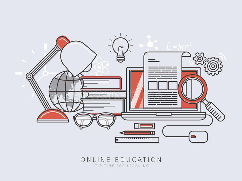 Online education concept. In thin line flat design style stock illustration