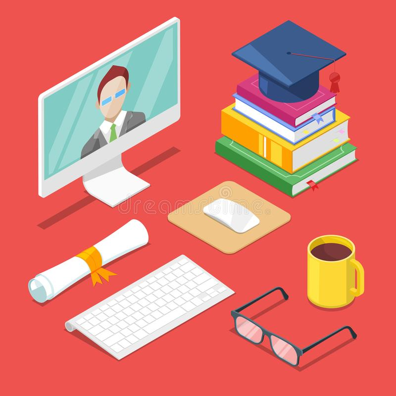 Online education concept. Vector 3d isometric icons of internet learning, training and study stock illustration