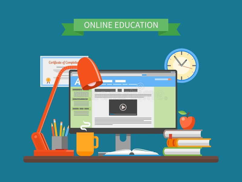 Online education concept. Vector illustration in flat style. Internet training courses design elements. Computer on a table royalty free illustration