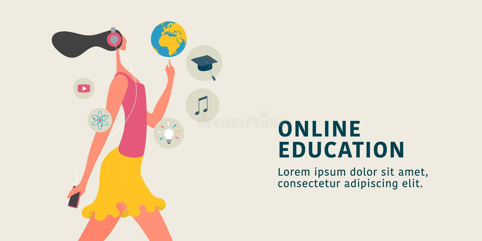 Online education concept vector illustration. Young female learning through internet training stock illustration