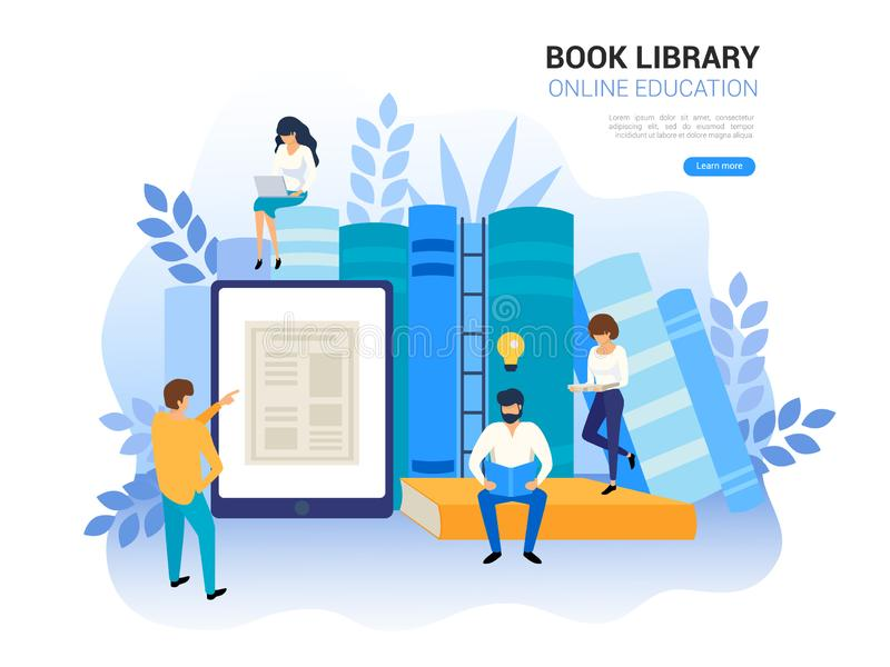 Online education concept. Web archive and e-learning tutorials for social media. Distance education and internet stock illustration