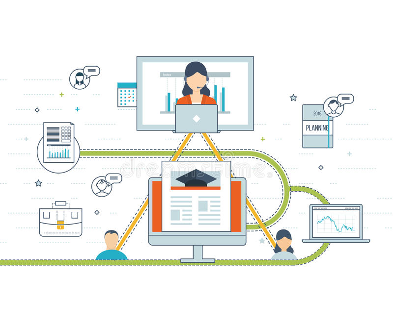 Online education and courses. Concept for investment, strategy planning, finance, market data analytics, strategic management. Online training courses for royalty free illustration