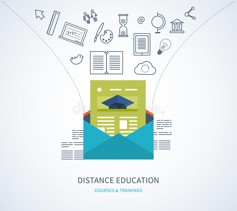 Online education and courses. Flat design modern vector illustration icons set of distance education, e-learning, courses and training vector illustration