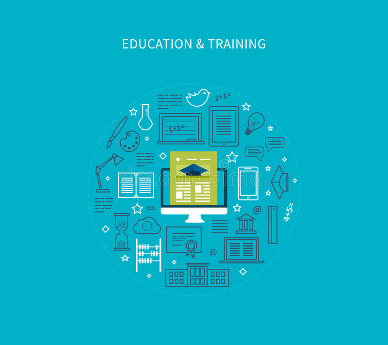 Online education and courses. Flat design modern vector illustration icons set of distance education, e-learning, courses and training. All elements are stock illustration