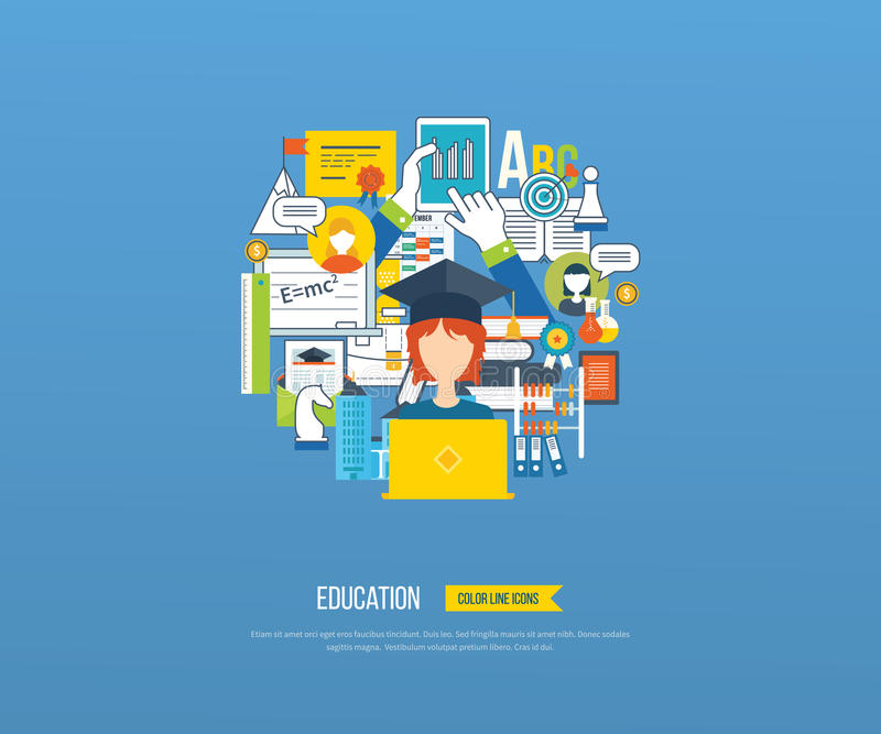 Online education and courses. Flat design modern vector illustration icons set of distance education, e-learning, courses and training. All elements are royalty free illustration