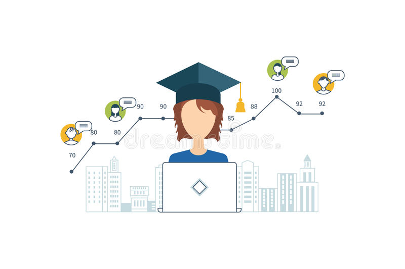 Online education and courses. Project management. Concept for strategy planning, market data analytics, strategic management, project management. Online royalty free illustration