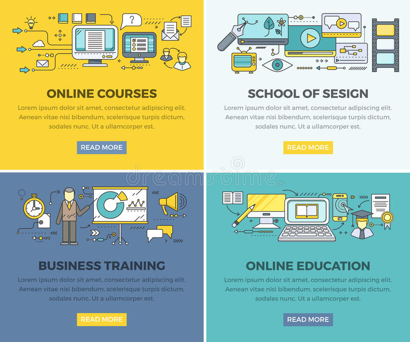 Online Education Courses Vector Web Banners Set. Online education courses web banners set. Business training and school of design square line art vector concepts stock illustration