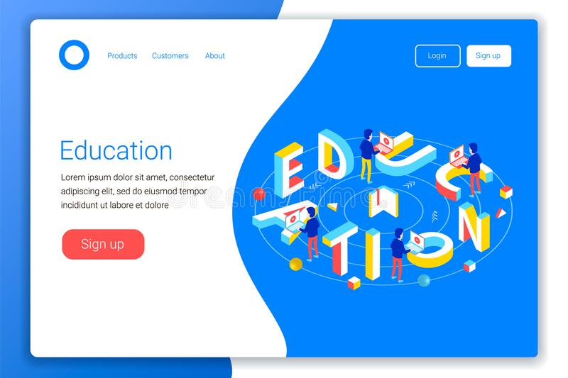 Online education design concept. Education 3d word lettering typography with students and computers. Flat 3d isometric style. Landing page template. Vector vector illustration