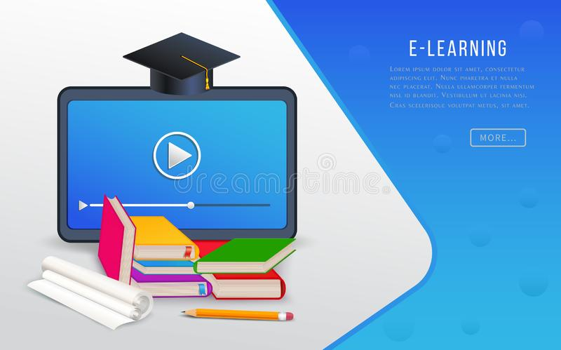 Online education, e-learning, college research, training courses concept with tablet, books, textbooks and graduation cap. stock illustration