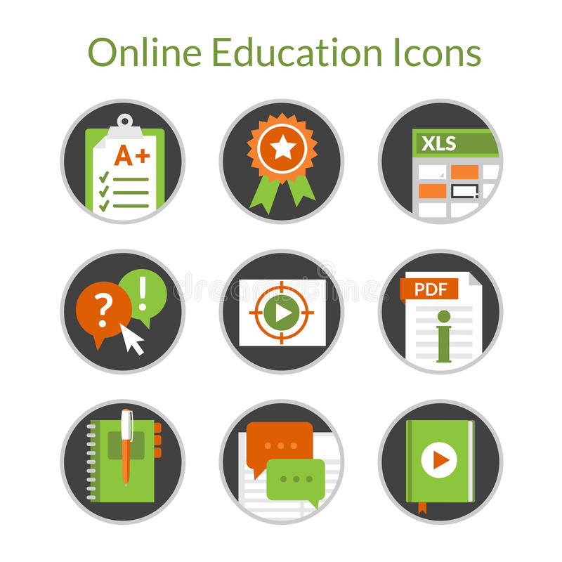 Online education or e-learning icons, video tutorials, distance courses. Set of flat icons of e-learning and distance education. Also can use for online vector illustration