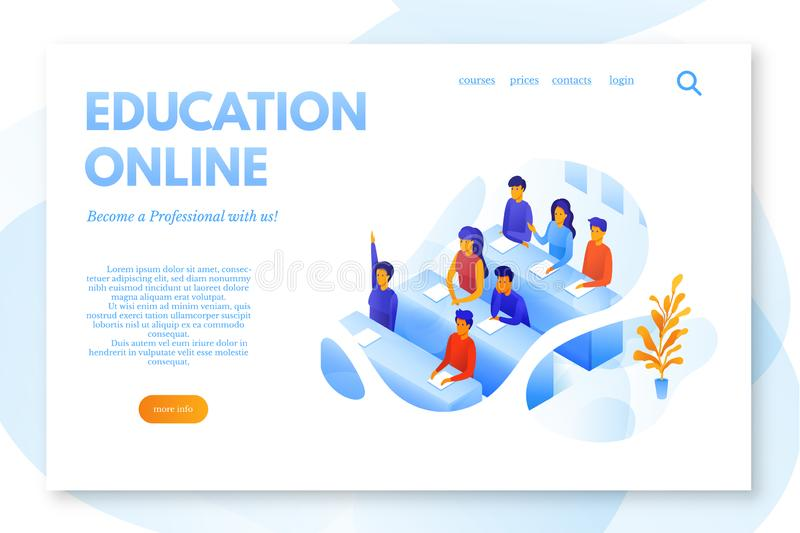 Online education flat landing page vector template vector illustration