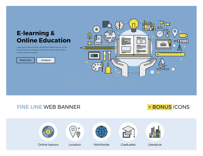 Online education flat line banner. Flat line design of web banner template with outline icons of online education, internet study course, video lessons, distance royalty free illustration
