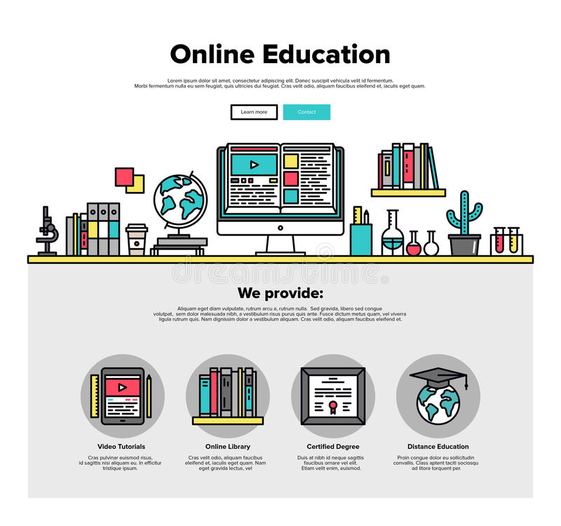 Online education flat line web graphics royalty free illustration