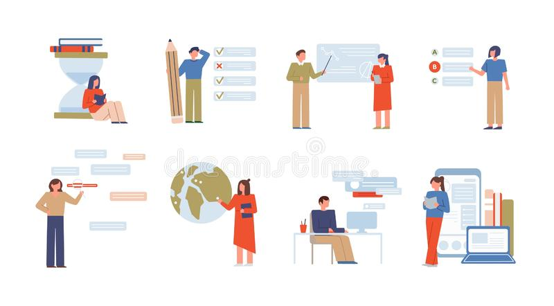 Online education flat vector illustrations set. E learning, university distance classes. Exam preparation tests isolated. On white. Teachers and students vector illustration