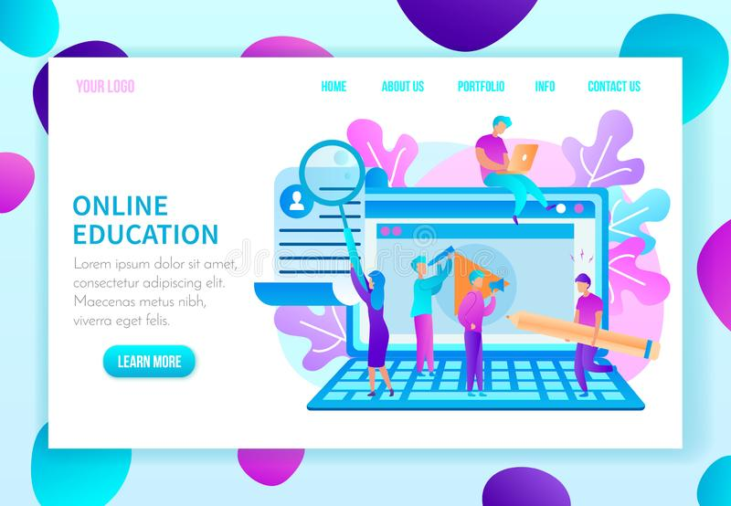 Education Courses Flat Vector Web Page Template. Online Education Flat Vector Web Banner in Bright Colors with People Characters Working on Laptop, Searching vector illustration