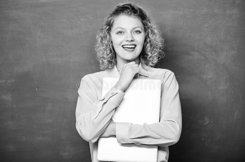 Online education. freelancer work. modern technology. girl Study Online in Classroom. teacher woman at blackboard. IT royalty free stock images