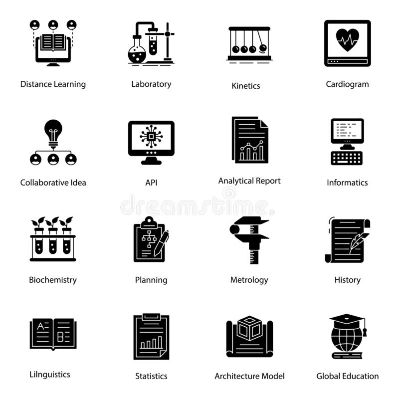 Online Education Glyph Icons Pack stock illustration