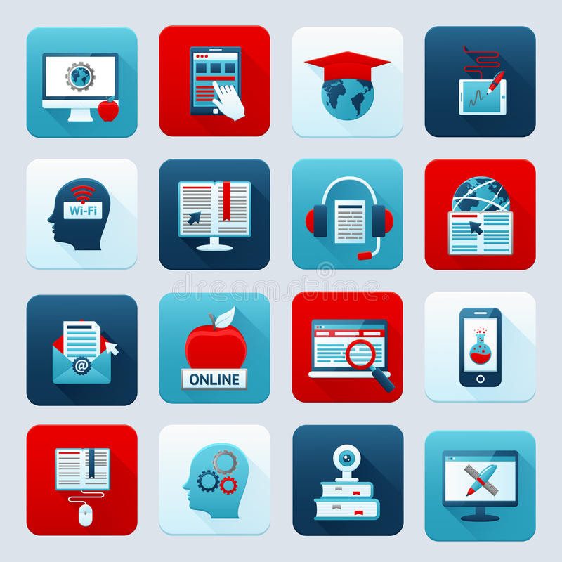 Online Education Icons stock illustration