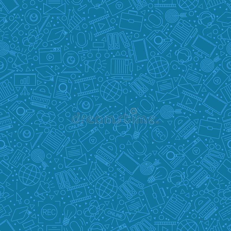 Online education icons in seamless pattern, vector illustration 线式带标志和象形的包装纸 库存例证