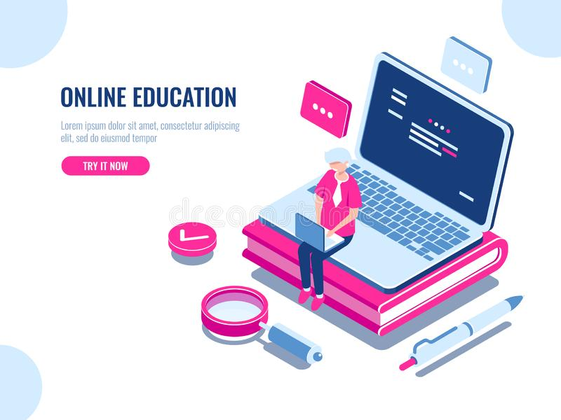 Online education isometric concept, laptop on book, internet course for learning on home, young man working on pc. Cartoon flat vector illustration vector illustration