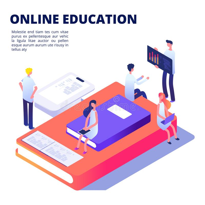 Online education isometric vector concept with books, students stock illustration
