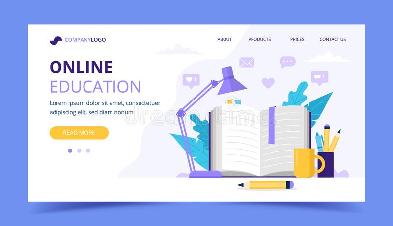 Online education landing page with with open book and a lamp. Vector illustration in flat style stock illustration