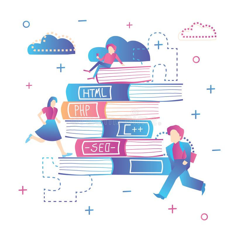 Online Education. Learning Web Design, Coding and SEO. vector illustration