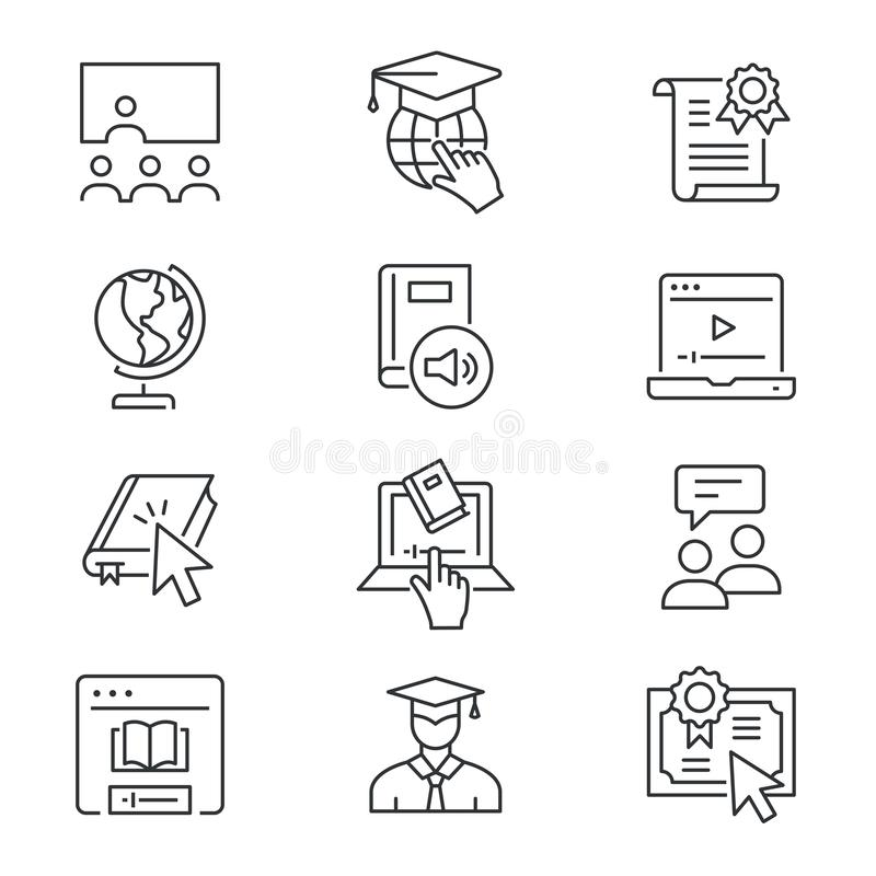 Online education line icons set. Black vector illustration. Editable stroke. Online education line icons. Set of education, webinar, distance, student, training stock illustration