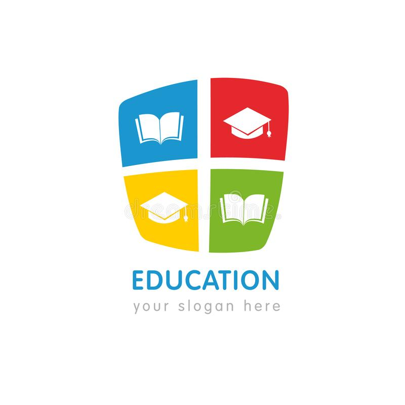 Online education logo template, open book and square academic cap royalty free illustration