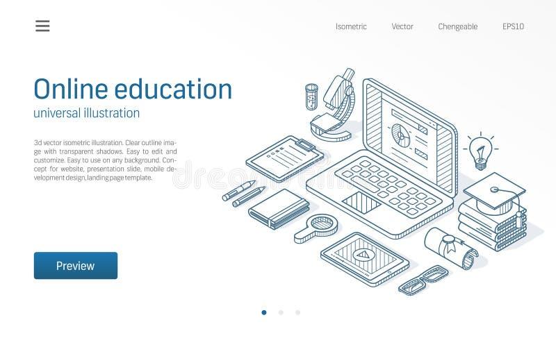 Online education modern isometric line illustration. Distance study, internet seminar sketch drawn icon. Elearning, web royalty free illustration