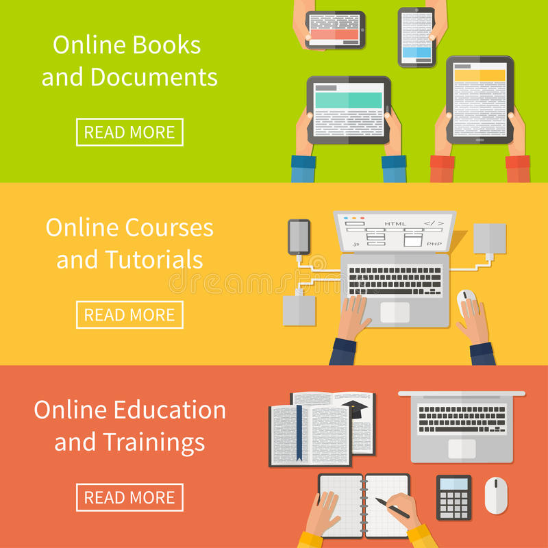 Online education,online training courses and. Online education, online training courses and tutorials, e-books. Digital devices, laptop. Flat design banners royalty free illustration