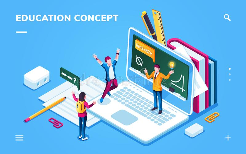 Online education page for smartphone application stock illustration