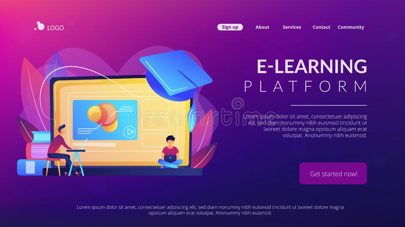 Online education platform concept landing page. stock illustration