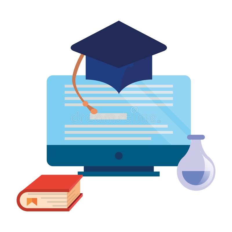 Online education school vector illustration
