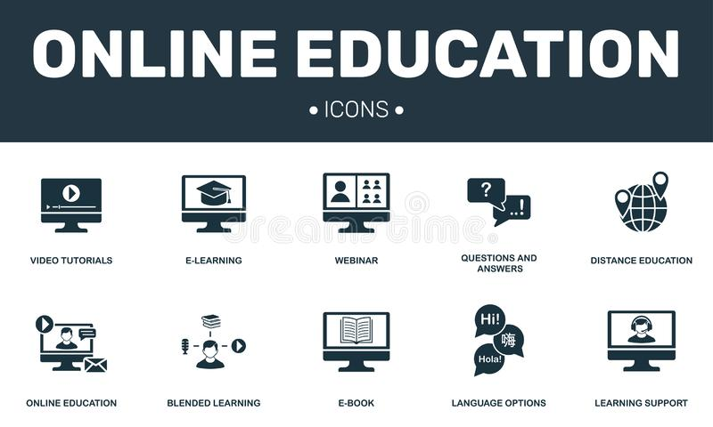 Online Education set icons collection. Includes simple elements such as E-learning, Webinar, E-book, Blended learning. Premium icons stock illustration