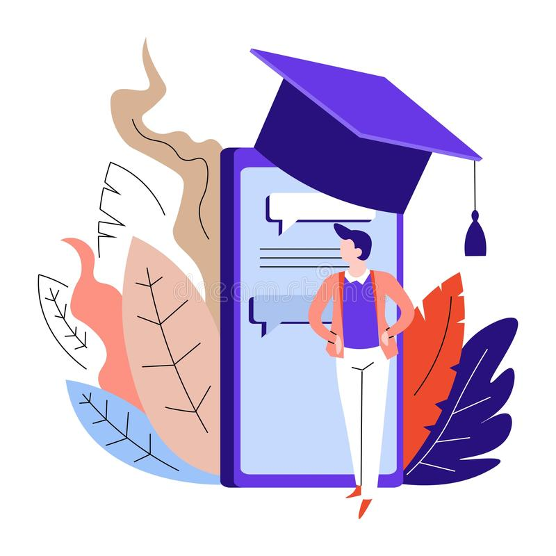 Online education smartphone in academic hat and male student. Smartphone in academic hat online education vector male student degree receiving at home Bachelor royalty free illustration