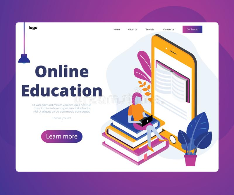 Online Education of students Through Online mobile Isometric Artwork Concept royalty free illustration