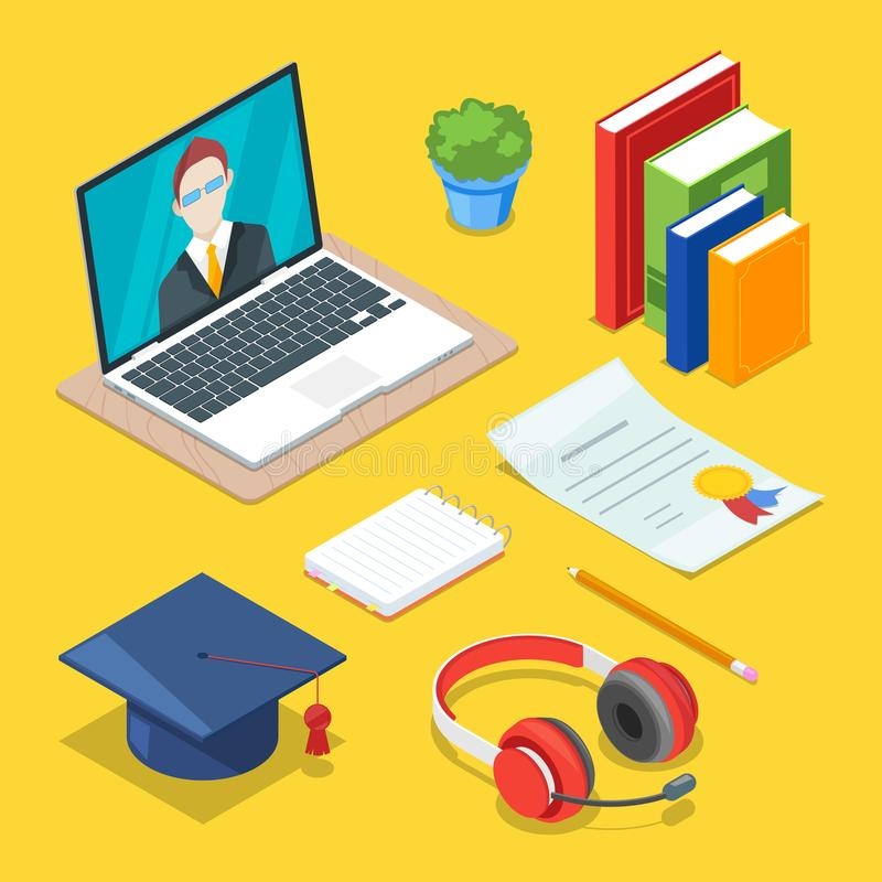 Online education and study concept. Vector 3d isometric icons of internet learning and training vector illustration