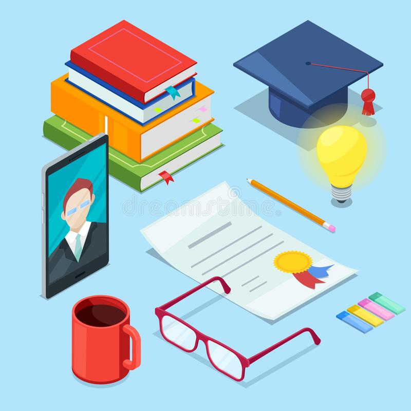 Online education and study. Vector 3d isometric icons of smartphone, books and diploma. Web learning and training royalty free illustration