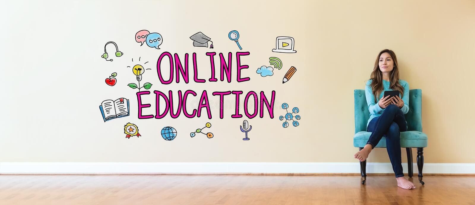 Online Education text with young woman holding a tablet computer royalty free stock photo