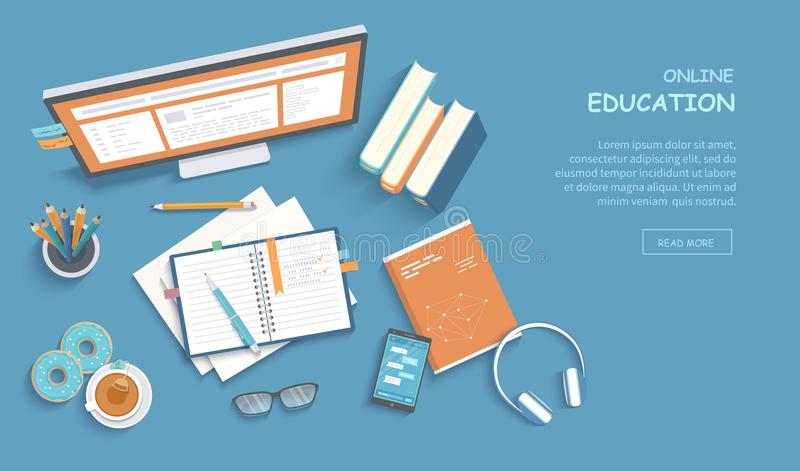 Online education, training, courses, e-learning, distance learning, exam preparation, home schooling. Web banner background. Workplace with monitor, books stock illustration