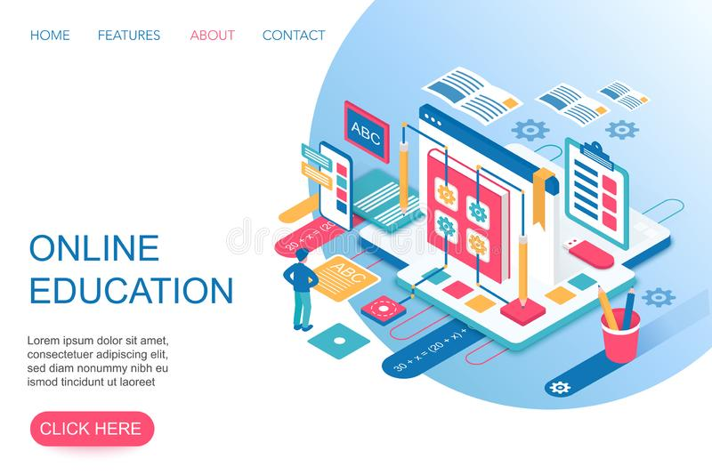 Online Education, training courses, internet university specialization 3d isometric landing website page template vector. Online Education, training courses royalty free illustration