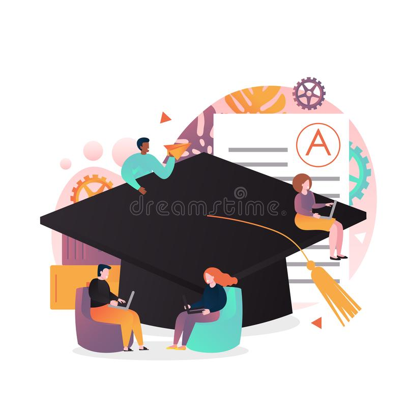 Online education vector concept for web banner, website page royalty free illustration