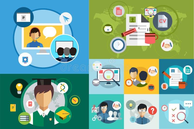 Online education vector icons. Webinar, school stock illustration